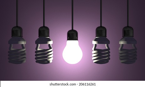 Glowing tungsten light bulb hanging among switched off fluorescent ones in sockets on wires on violet textured background