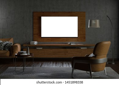 Glowing TV screen at night on the concrete wall of modern living room with cabinet,brown leather armchairand couch, coffee table, floor lamp and fur carpet. 3d illustration