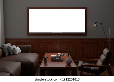 Glowing TV wide screen at night on the white wall in classic living room. Front view. 3d illustration