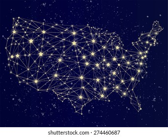 Glowing USA map on the starry sky. USA at night. Molecule style design. Raster version.