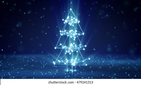 Glowing wireframe christmas tree shape. Abstract holiday 3D render