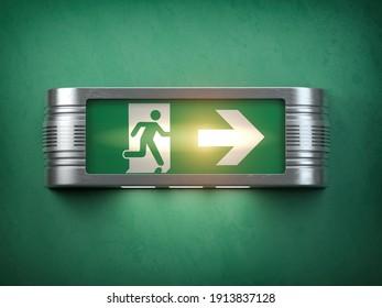 Glowinng vintage exit sign on black background. 3d illustration