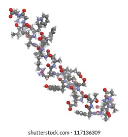 Glucagon-like Peptide 1 (GLP-1) molecule, chemical structure. GLP-1 is being investigated for the treatment of diabetes mellitus.