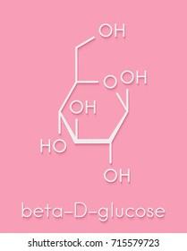 Glucose (dextrose, grape sugar) molecule (beta-D-glucopyranose form). Skeletal formula.