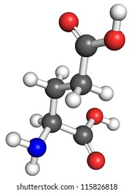 Glutamate (amino acid) molecule, ball and stick model. Atoms colored according to convention.