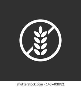 Gluten free icon, No wheat symbol.