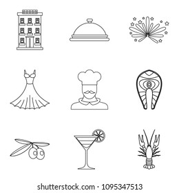 Gluttony icons set. Outline set of 9 gluttony icons for web isolated on white background
