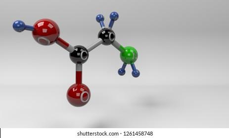 Glycine molecule illustration. Molecular structure of glycine, non essential amino acid. 3D rendering. Footage available.