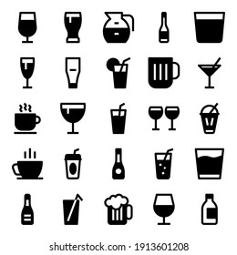 Glyph icons for cocktail drink.