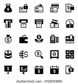 Glyph icons for finance and payments.