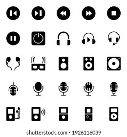 Glyph icons for multimedia player.