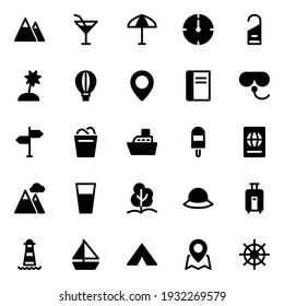 Glyph icons for summer holiday beach tourism travel.