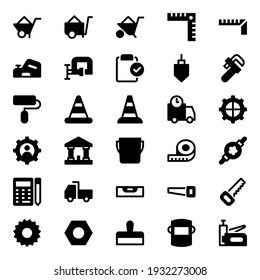 Glyph icons for tools and construction.