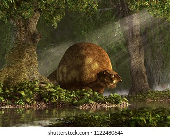 Glyptodons were giant cousins of the armadillo that lived in South and Central America during the last ice age.  3D Rendering