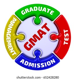 """GMAT. Graduate Management Admission Test. The mark in the form of a puzzle. The inscription """"GMAT. Graduate Management Admission Test"""" on the puzzle in the shape of a circle. 3D Illustration. Isolated"""