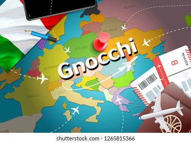 Gnocchi city travel and tourism destination concept. Italy flag and Gnocchi city on map. Italy travel concept map background. Tickets Planes and flights to Gnocchi holidays Italian vacation