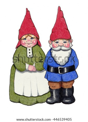 Gnome Couple, Color Pencil Drawing, Fantasy Art