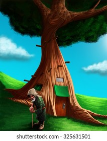 A gnome in a grass ground in front his small house into a tree