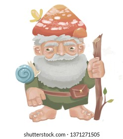 Gnome with mushroom hat  , forester, small forest dweller with a cane, butterfly and snail. Fairy-tale forest character with a beard in the raster.fairy tale for children