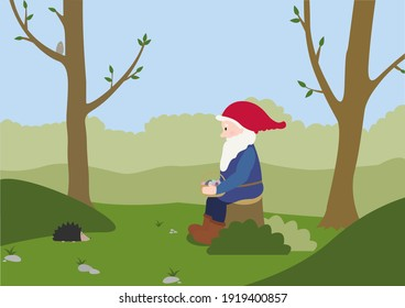 A gnome is sitting on the stub in the forest. He is looking at the hedgehog. He is carrying a basket ith colored easter eggs. Concept illustration. Good for posters or books.