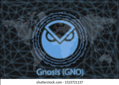 Gnosis (GNO) Abstract Cryptocurrency. With a dark background and a world map. Graphic concept for your design.