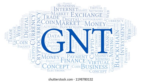 GNT or Golem cryptocurrency coin word cloud.