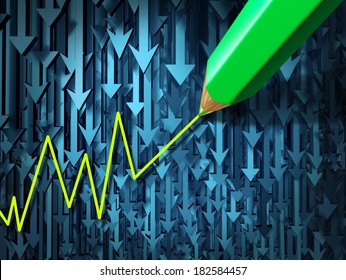 Go against the current and contrarian investing business concept as a group of three dimensional arrows going in a down direction contrasted by a pencil crayon drawing an upward investment.