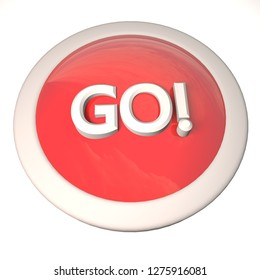 Go button over white background, 3d rendering