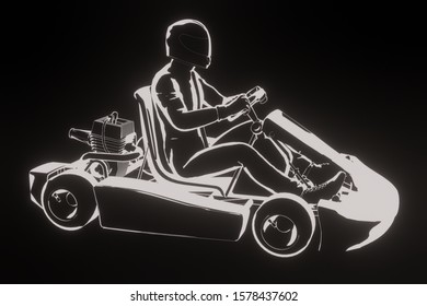 A go cart driver in clip art style