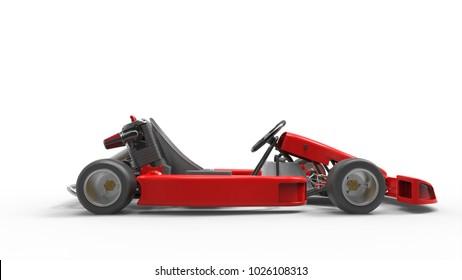Go kart car for racing. Racing karting. Race car. 3D rendering.
