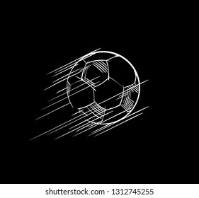 Goal, Soccer ball flying Icon. European football logo. Sports game image concept for the championship banner, sport bar, broadcast. Lines, strokes drawing sketch. Element for the Scores table, app
