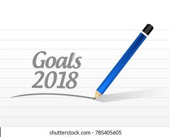 goals 2018 message sign illustration design over white
