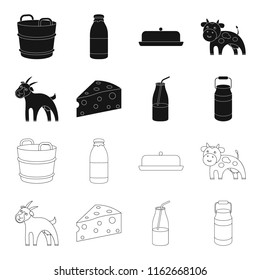 Goat, a piece of cheese and other products. Milk set collection icons in black,outline style bitmap symbol stock illustration web.