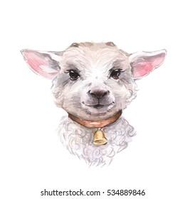 Goatling. Cute watercolor illustration. Hand drawn yeanling