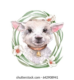 Goatling. Cute watercolor illustration. Hand drawn yeanling. Floral wreath