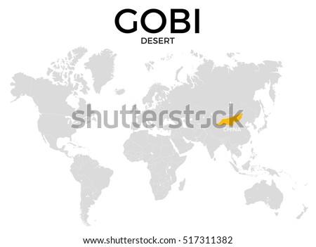 Gobi Desert Location Modern Detailed Map Stock Illustration