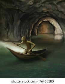 goblin in boat on underground lake, digital painting