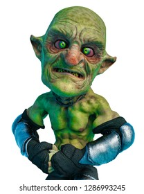 goblin cartoon in a white background  will put some fun at yours creations, 3d illustration