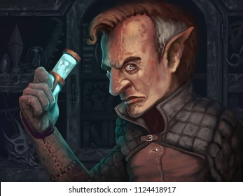 Goblin creature art with magic artifact standing in his curio shop