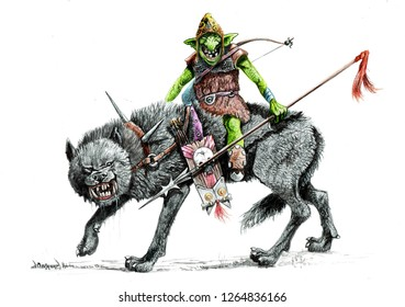 Goblin on the wolf. Fantasy illustration.