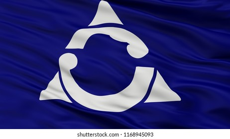 Gobo City Flag, Country Japan, Wakayama Prefecture, Closeup View, 3D Rendering