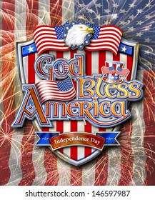God Bless America on Shield with Bald Eagle, Uncle Sam�s Hat  and Stars and Stripes Chrome graphic on Firework and Flag background with clipping path