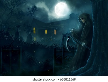 God of death, Grim reaper sneak behind the tree.illustration scarecrow, halloween dark night, fantasy painting horror full moon.