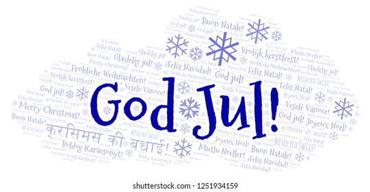 God Jul word cloud - Merry Christmas on Swedish language and other different languages.