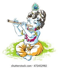 God Krishna Janmashtami. Boy shepherd playing flute. Cartoon illustration