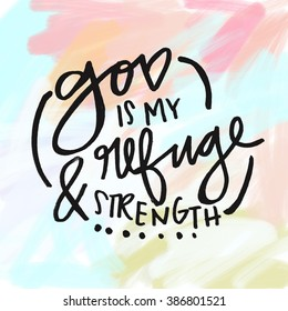 God is My Refuge and Strength Bible Verse Wall Art Quote