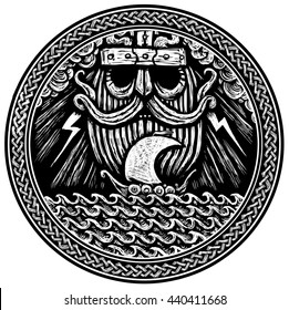 God is Odin storm sea and Drakkar . black and white illustration of a circle