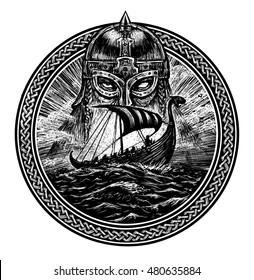 God Odin storm sea and Drakkar . Illustration of a circle. Viking emblem Viking ship. Norse God