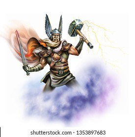 God Thor holds the hammer Mjelnir, a warrior with a sword, thunder and lightning, the battle of Ragnarok, an isolated character on a white background