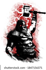 God Thor raises his hand, he holds a hammer and throws lightning. He has a naked torso. His eyes are sparkling, his face is stern. Fur on the shoulder. he is on a red background. 2d illustration